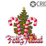 Árvore de natal enfeitada com bolas de várias cores. À frente duas bengalas e  Feliz Natal às riscas vemelhas e brancas. No canto superior direito o logótipo do CRID