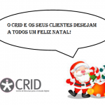 Balão de texto com letras pretas: o CRID e os seus clienetes desejam a todos um feliz natal. No canto inferior esquerdo o logótipo do crid e no lado direito o pai natal com saco de prendas