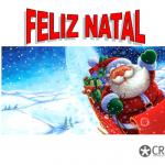 Feliz Natal a vermelho em letras maiusculas, em baixo o pai Natal a deslizar na neve.