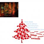 Um pinheiro iluminado numa casa. Em baixo uma árvore de natal feito com corações vermelhos. A azul Neste Natal o que te ofereço não tem preço, não tem prazo, é para consumo imediato. Carinho, ternura, beijinhos, simpatia, afeto, alegria, amor, abraços e amizade a vermelho.