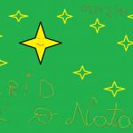 Fundo verde com estrelas amarelas. CRID é o natal a vermelho e amarelo.