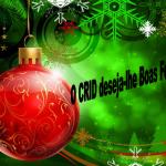 Bola de efeitar o pinheiro de natal vermelha e dourada, fundo verde com azevinho e estrelas douradas. O CRID deseja-lhe Boas Festas a preto.