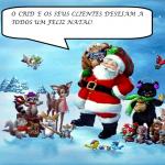 Pai Natal na neve com animais ao seu redor. Balão de texto O CRID E OS SEUS UTENTENTES DESEJAM A TODOS UM FELIZ NATAL