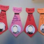 Gravatas feitas à mão, coloridas e com mensagem sobre o dia do pai e fotografia dos clientes do CRID