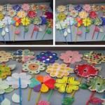 Flores coloridas feitas de papel